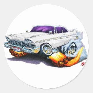 1958 Plymouth Fury White Car Sticker