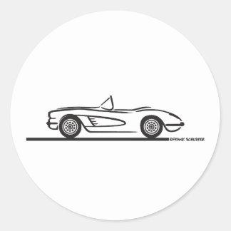 1959 1960 Chevrolet Corvette Classic Round Sticker