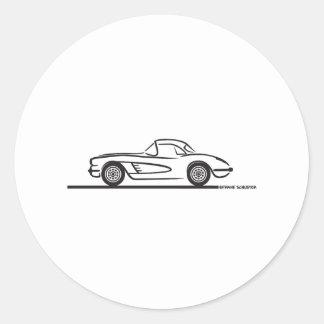 1959 1960 Chevrolet Corvette Hardtop Classic Round Sticker