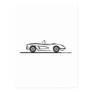 1959 1960 Chevrolet Corvette Tarjeta Postal