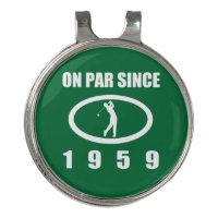 1959 60th Birthday For Golfers Golf Hat Clip
