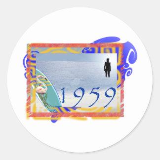 1959 beach classic round sticker