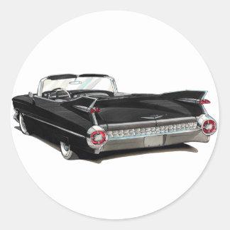 1959 Cadillac Black Car Classic Round Sticker