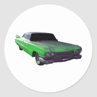 1959 Cadillac green Classic Round Sticker