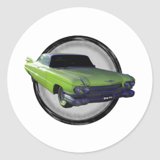 1959 Cadillac lime Classic Round Sticker