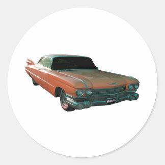 1959 Cadillac peach Classic Round Sticker