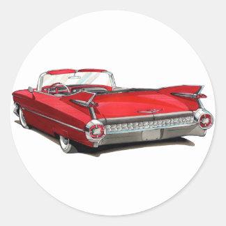 1959 Cadillac Red Car Classic Round Sticker