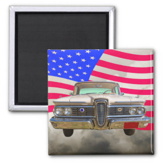 1959 Edsel Ford Ranger with American Flag Magnet
