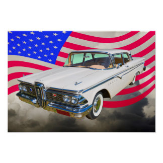 1959 Edsel Ranger And American Flag Posters