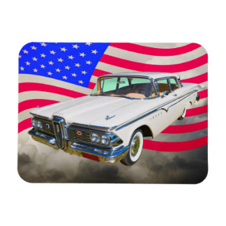 1959 Edsel Ranger And American Flag Magnets