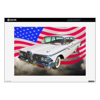 1959 Edsel Ranger And American Flag Laptop Skin
