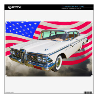1959 Edsel Ranger And American Flag Decals For MacBook Air