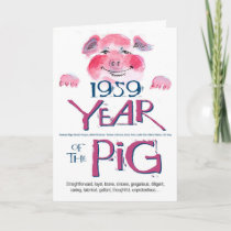 1959 Fun Facts Pig Funny Birthday Card