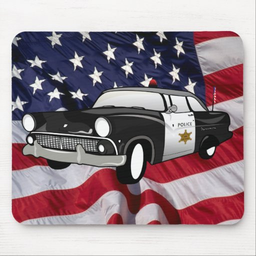 1959 retro Black - State Police Mouse Mat