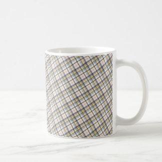 195 BROWNS CREAM PLAID PATTERN BACKGROUND WALLPAPE COFFEE MUG