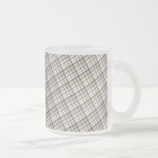 195 BROWNS CREAM PLAID PATTERN BACKGROUND WALLPAPE FROSTED GLASS COFFEE MUG