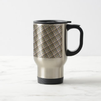 195 BROWNS CREAM PLAID PATTERN BACKGROUND WALLPAPE TRAVEL MUG