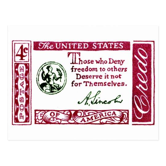 1960 Abraham Lincoln American Credo Postcard
