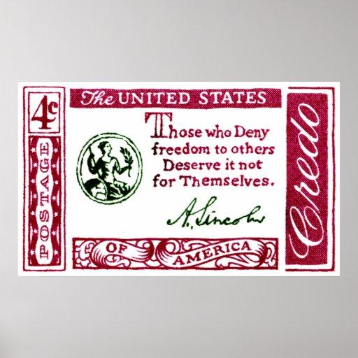 1960 Abraham Lincoln American Credo Print