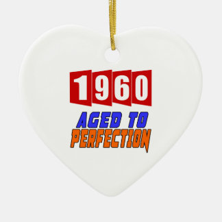 1960 Aged To Perfection Double-Sided Heart Ceramic Christmas Ornament