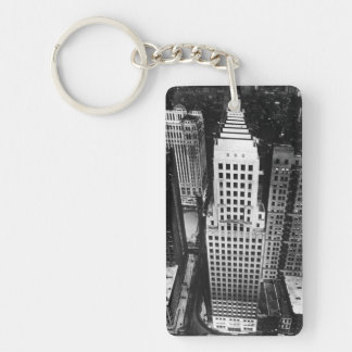 1960:  An aerial view of a Chicago skyscraper Double-Sided Rectangular Acrylic Keychain