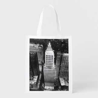1960:  An aerial view of a Chicago skyscraper Reusable Grocery Bag