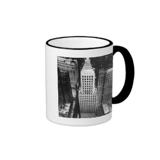 1960:  An aerial view of a Chicago skyscraper Ringer Mug