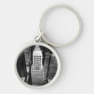 1960:  An aerial view of a Chicago skyscraper Silver-Colored Round Keychain