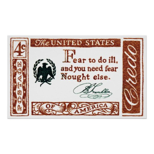 1960 Benjamin Franklin American Credo Poster