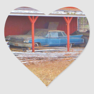 1960 BLUE SADAND DEVILLE Antique car Heart Sticker