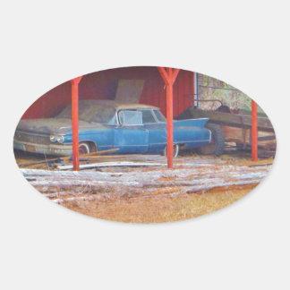 1960 BLUE SADAND DEVILLE Antique car Oval Sticker