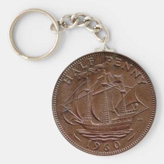 1960 British ha'penny keychain