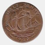 1960 British ha'penny sticker