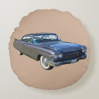 1960 Cadillac Classic Luxury Car Round Pillow