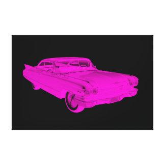 1960 Cadillac Luxury Car Pink and Black Pop Art Canvas Print