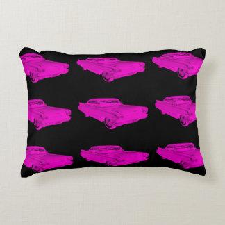1960 Cadillac Luxury Car Pink and Black Pop Art Decorative Pillow