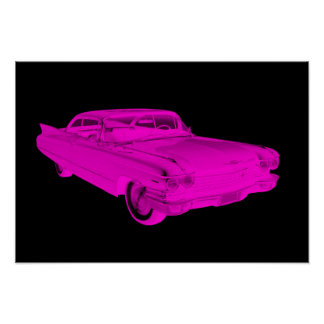1960 Cadillac Luxury Car Pink and Black Pop Art Poster