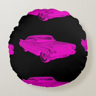 1960 Cadillac Luxury Car Pink and Black Pop Art Round Pillow