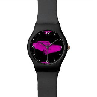 1960 Cadillac Luxury Car Pink and Black Pop Art Wrist Watch