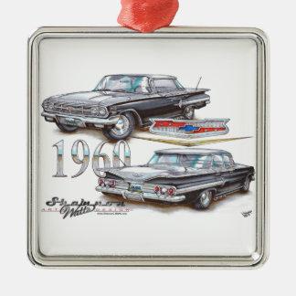 1960 Chevy Impala Sports Sedan Square Metal Christmas Ornament