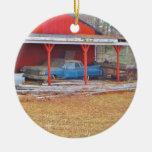 1960 coche antiguo AZUL de SADAND DEVILLE Ornamento Para Arbol De Navidad