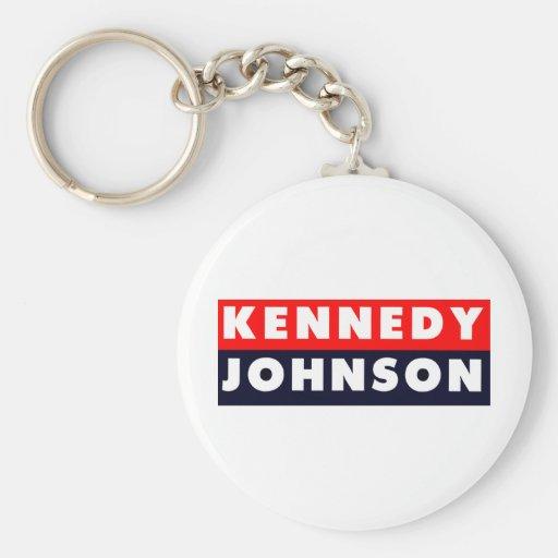 1960 Kennedy Johnson Bumper Sticker Basic Round Button Keychain