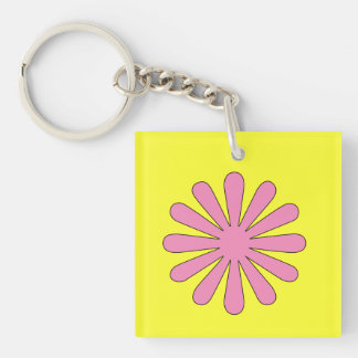 1960 Pop Art Flowers 2-Sided Keychain