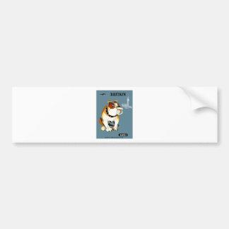 1960 Qantas Britain Bulldog Travel Poster Bumper Sticker