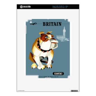 1960 Qantas Britain Bulldog Travel Poster Skin For The iPad 2