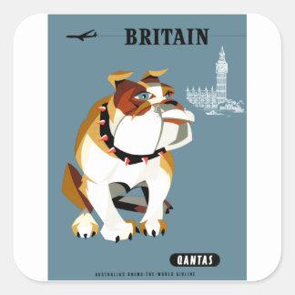 1960 Qantas Britain Bulldog Travel Poster Square Sticker