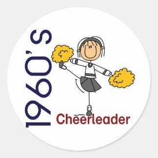 1960's Cheerleader Stick Figure Round Sticker