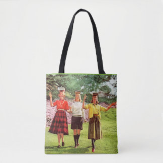 1960 teenage girls with books on their heads tote bag