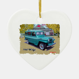 1960_Willys Double-Sided Heart Ceramic Christmas Ornament