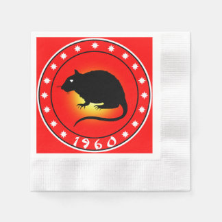 1960 Year of the Rat Coined Cocktail Napkin